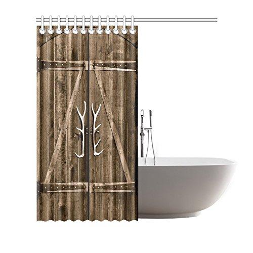 Wooden Garage Barn Door Shower Curtain Bathroom Set