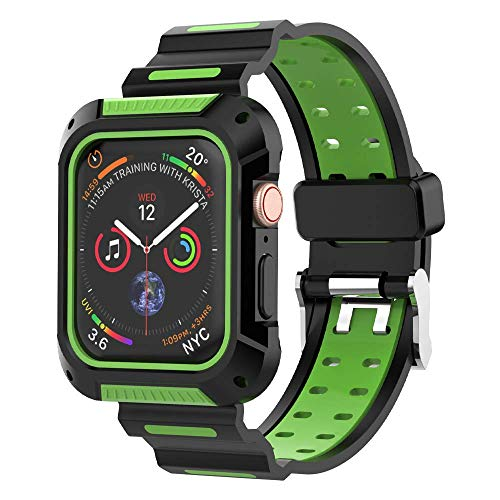 UMTELE Compatible for Apple Watch 4 Case and Band 44mm, Shock Resistant Rugged Protective Case Bumper Cover with Soft Sport Bands Compatible for Apple Watch Series 4 44MM