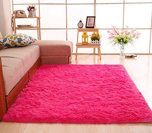 Gianco Ferro, alfombra de pelo sintético muy suave, alfombra de área, redonda, Rojo rosa, 3.3 feet * 5.3 feet (100*160 cm)