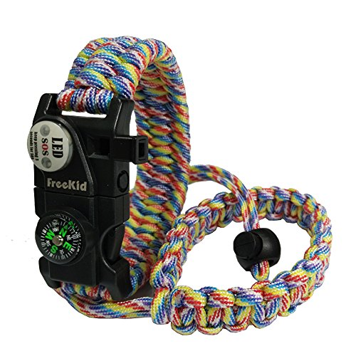 - Freekid Paracord Bracelet Survival Gear and Camera Wrist Strap - Outdoor Emergency First Aid Tool Kit 20 in 1 Compass, Sos Distress Led Light
