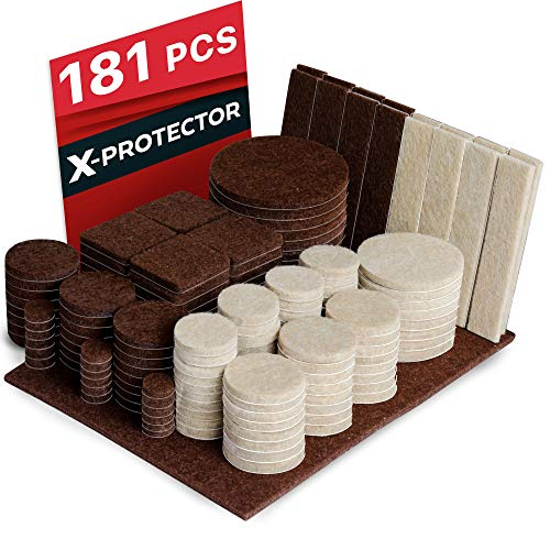 X-PROTECTOR Premium Ultra Large Pack Felt Furniture Pads 181 Piece! Felt Pads All Sizes Furniture Feet - Your Best Wood Floor Protectors. Protect Your Hardwood Flooring with 100% Satisfaction! (Hardwood Conference Table)