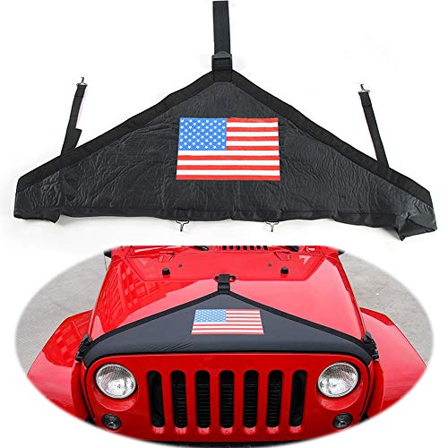 EIGIIS Front Hood Cover Protect Paint Bra Covers T-Style Protector Kit for 2007-2018 2-Door 4-Door Jeep Wrangler JK Rubicon Sahara Sport Sport-S (National Flag)