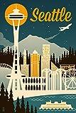 Seattle, Washington – Retro Skyline (9×12 Art Print, Wall Decor Travel Poster) Picture