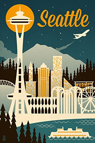 Seattle, Washington - Retro Skyline (12x18 SIGNED Print Master Art Print w/Certificate of Authenticity - Wall Decor Travel Poster) ()