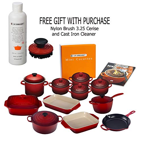 Le Creüset 22-Piece Bundled Set, Cherry with Nylon Brush 3.25 Cerise and Cast Iron Cleaner, Gift With Purchase