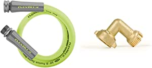 Flexzilla HFZG503YW Lead in Hose, 3' (feet), ZillaGreen & Camco (22505) 90 Degree Hose Elbow- Eliminates Stress and Strain On RV Water Intake Hose Fittings, Solid Brass