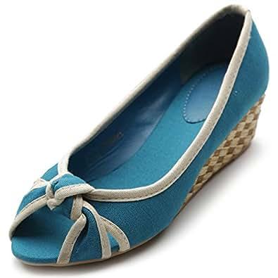 Ollio Women's Ballet Shoe Casual Comfort Mid Heel Multi Color Pump(6.5 B(M) US, Turquoise)
