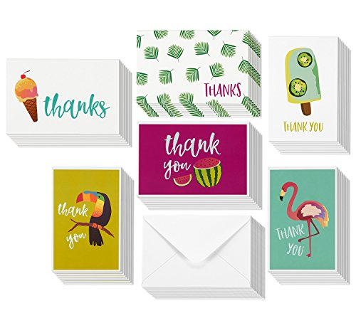 Thank you Greeting Cards - Bulk Box Set - 6 Tropical Themed Designs: Watermelons, Flamingo, Ice Cream - Includes 48 Cards and Envelopes - 4 x 6 Inches