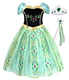 Cotrio Princess Anna Dress Up Costumes Girls Party Outfit with Accessories 7-8 Years/Green