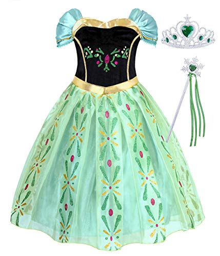 AmzBarley Girls Anna Dress for Coronation Costume Princess Fancy Dress up Birthday Party Cosplay Outfits Halloween Elsa Role Play Talent Show Clothing with Accessories(Crown and Wand) Size 8(7-8Years)]()