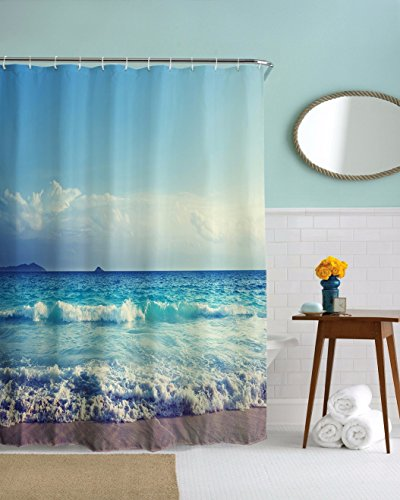 A.Monamour Blue Ocean Sea Beach Cloudy Sky Seaside Nature Tropical Scenery Print Polyester Fabric Shower Curtain for Bathroom 180x200 cm / 72