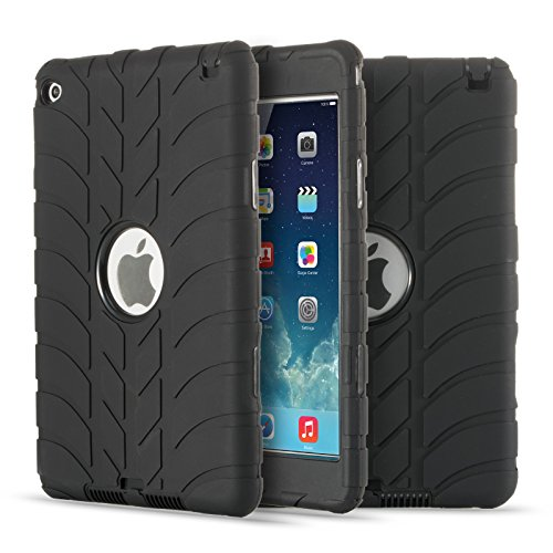 iPad Mini 4 Case, UZER Tire Pattern Shockproof Anti-slip Silicone High Impact Resistant Hybrid Three Layer hard PC+Silicone Armor Protective Case Cover for iPad Mini 4 (2015 Model) ()