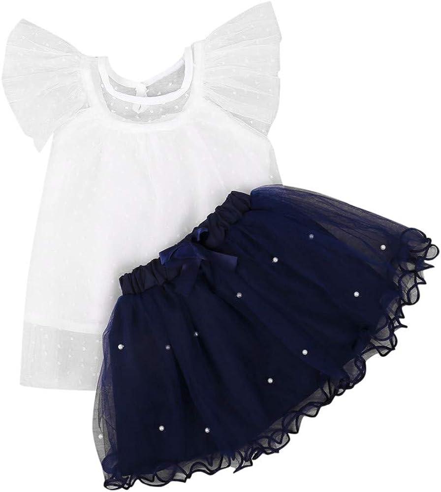 niñas bebés Volantes Camiseta + Falda de tutú de Tul Perla Ropa ...