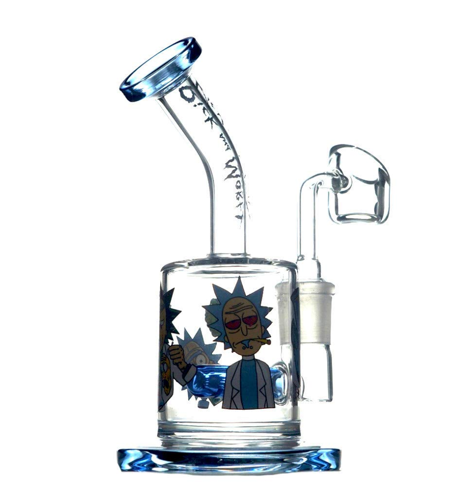 Aduben 7 Inch Bent Thickened Cartoon Pattern Glass Small Rig Dual Water Percolator Glass Craft Clear