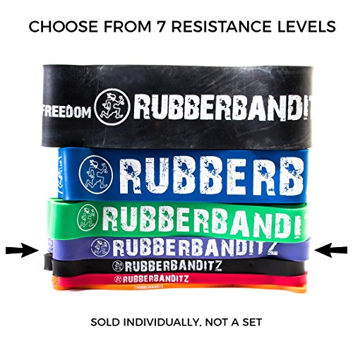 RubberBanditz Pull Up Assistance Resistance Band, 7 Different Exercise Bands | 5-200 lbs. Tension Bands: Mobility, Stretching, Pilates, Chin Ups Assist, Powerlifting, Functional Fitness & CrossFit ()