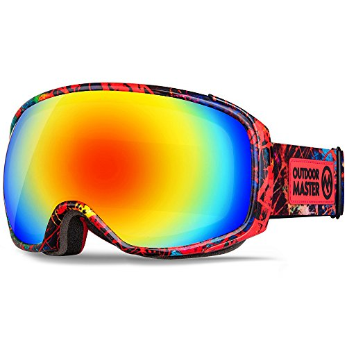 OutdoorMaster Ski Goggles PRO X - Ski & Snowboard Goggles with TruVis 2X Anti-Fog Lens - for Men, Women & Youth - Helmet Compatible (Red Splatter + Colorful Lens (VLT 14%))