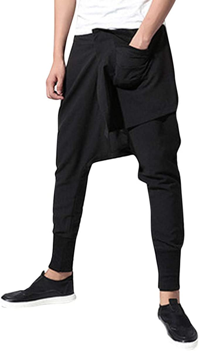Fseason-Men Slim Fit Capri Athletic Drawstring Pocket Relaxed Jogging Pants
