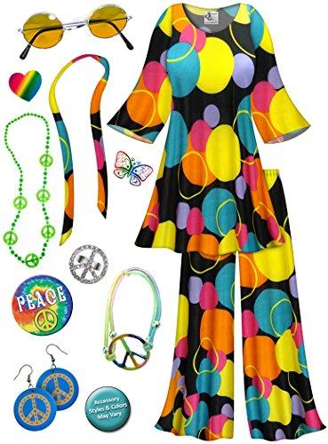 Bubble Run Costumes (Double Bubble-Teal 2PC Plus Size Hippie Costume Deluxe Kit 3x)