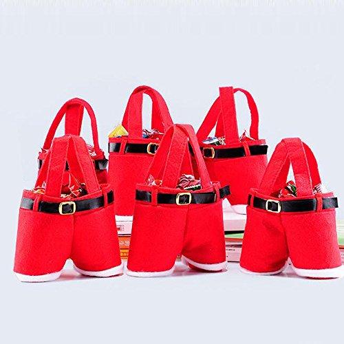 Christmas Candy Bag, 6pcs Kid Gift Present Bags Santa Pants Handbag Xmas Gift Baskets Gift Wrap for Christmas Wedding Holiday New Year Holiday Decorations