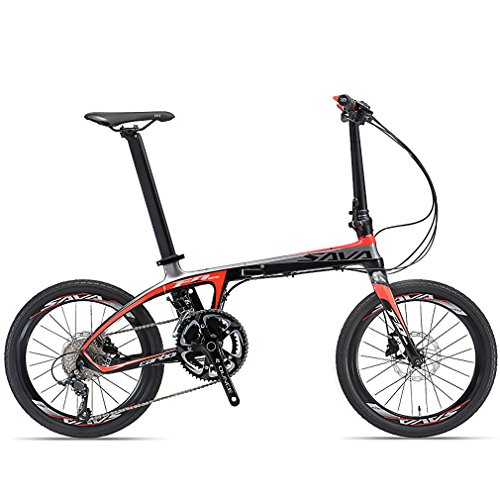 - SAVADECK Folding Bike, 20 inch Carbon Fiber Folding Bicycle Portable Folding Bikes Mini City 22 Speed Foldable Bicycle with Shimano 105 and Hydraulic Disc Brake (Black Red)