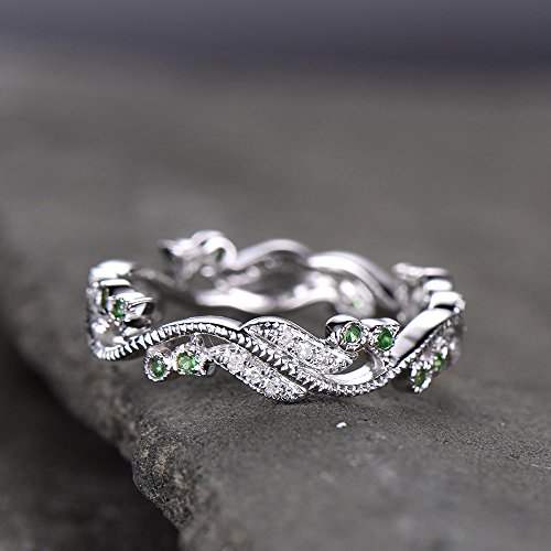 Victorian Antique Art Nouveau Floral Wedding Band Inspired CZ Diamond Emerald Wedding Ring Vintage Filigree Eternity Band Sterling SIlver