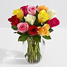 ProFlowers - 12 Count Multi-Colored One Dozen Rainbow Roses with Glass Ginger Vase w/Free Clear Vase - Flowers