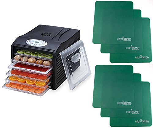 SamsonSilent Dehydrator Package with 6 Qty Non Stick Silicone Drying Sheets 6-Tray with Digital Controls Bright Kitcen SamsonSilent+6sheets