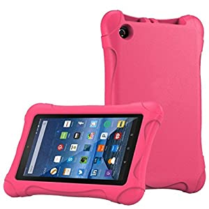AutumnFall Kids Shock Proof Case Cover for Amazon Kindle Fire HD 7 2015 (Hot Pink)