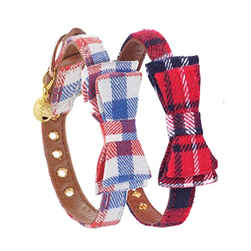 CHOLEGIFT Cute Adjustable Puppy Dog Collar Bow Tie with Bell Cat Collar Pet Quick Release Buckle Strap - 2pcs Collars A Pack