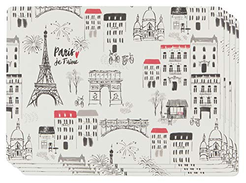 Now Designs Set of Four Cork-Backed Hard Placemats Paris Je Taime