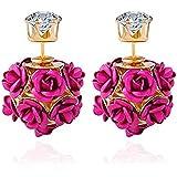 YouBella Jewellery Rose Shape Two Sided Fancy Party Wear Earrings for Girls and Women