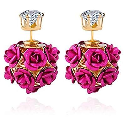 329fab70a YouBella Stylish Fancy Party Wear Jewellery Gold Plated Stud Earrings for  Women (Pink) (