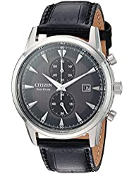 Citizen Mens Eco-Drive Quartz Stainless Steel and Leather Dress Watch, Color:Black (Model: CA7000-04H)