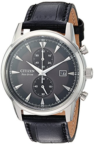 Citizen Men's 'Eco-Drive' Quartz Stainless Steel and Leather Dress Watch, Color:Black (Model: CA7000-04H) (Black Watch Leather Dress)
