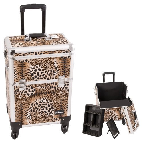 Interchangeable Professional Rolling Cosmetic Makeup Train Case Pattern: Leopard, Color: Brown