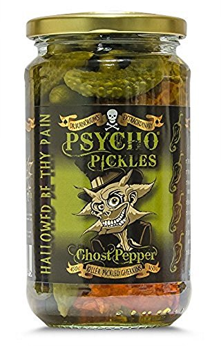 Psycho Pickles Pickled Gherkins Ghost Pepper 450g - Dill Spicy Pickles