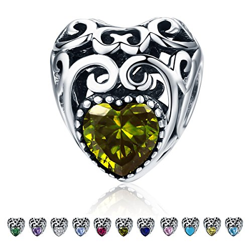 Forever Queen Birthstone Charms- Leaves Wave Heart Bead Charms- 925 Sterling Silver Openwork Charm fit Pandora Charm Bracelet Necklace for Women, Daughter, Wife, Girlfriend, Mother BJ09015 (August) (Boy August Charm Birthstone)