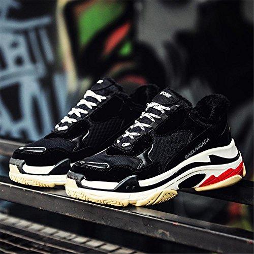 Hombres Corriendo Entrenadores Para caminar Respirable Choque Absorbente Grueso Fondo Zapatos Atlético Zapatillas Casual Deportes Al aire libre Black