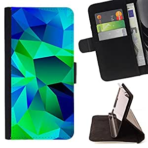 BullDog Case - FOR/Samsung Galaxy Core Prime / - / polygon art painting blue green abstract /- Monedero de cuero de la PU Llevar cubierta de la caja con el ID Credit Card Slots Flip funda de cuer