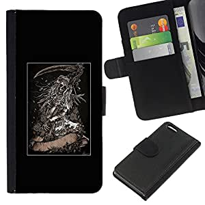 KingStore / Leather Etui en cuir / Apple Iphone 5C / Grim Reaper Scythe Cartel Negro