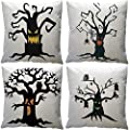 Halloween Pillow Covers Vintage Halloween Horror Theme Spider Web Tree Throw Pillow Covers Cotton Linen Square Pillowcase Cushion Cover for Home
