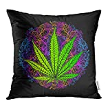 Emvency Throw Pillow Covers Cases Cannabis Leaf Marijuana Herb Weed Ganja Illicit Narcotic