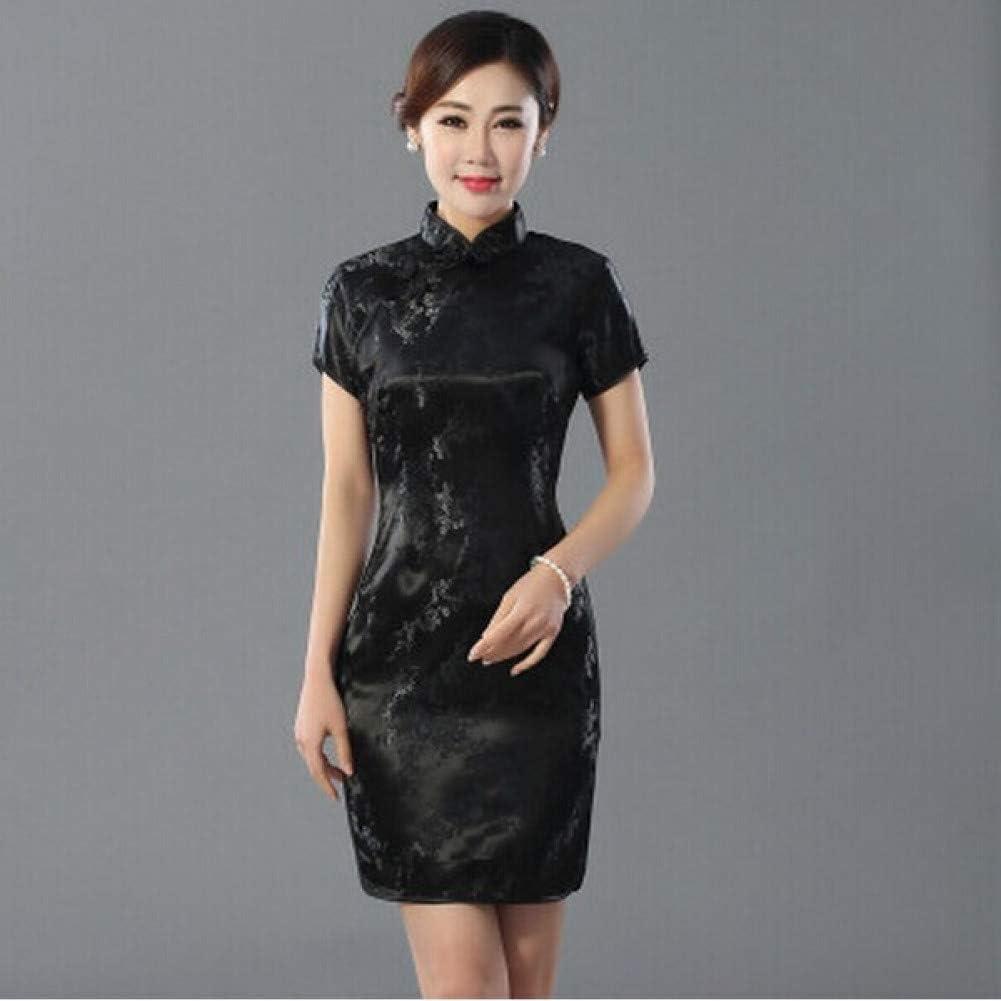 MEILINVREN Dresses,Fashion Elegant Black-Red Chinese WomenS Cheongsam Mujeres Vestido New Summer Mini Qipao Drees