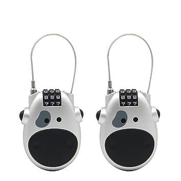 Haisito 2 Piezas Candado Cable Retractil - Creativo Linda Cara de Vaca Combinación de 3 dígitos