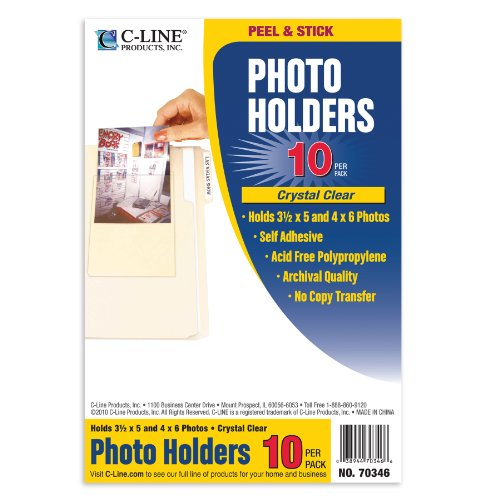 C-Line Peel and Stick Photo Holders, Holds 3.5 x  5 and 4 x 6 Inches Photos, Clear, 10 per Pack (70346) (Cline Clear Photo Holders)