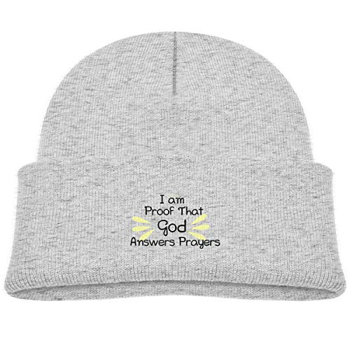 Banana King I Am Proof That God Answers Prayers Baby Beanie Hat Toddler Winter Warm Knit Woolen Watch Cap for Kids Gray -