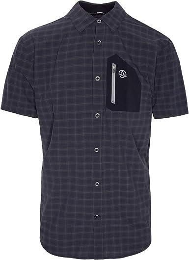 Ternua ® Camisa MC ATHY Shirt Hombre - Color Negro/Cuadros Negros (XL)