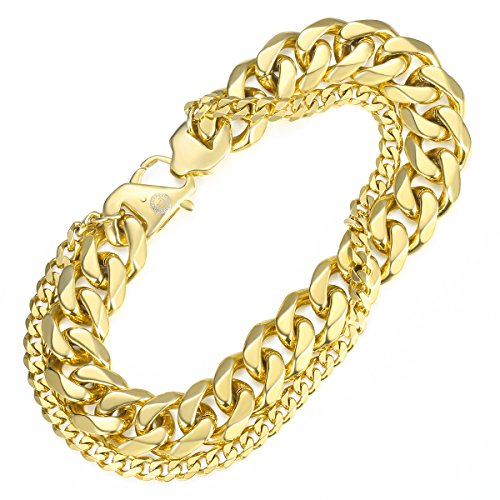 Stainless Steel 5mm Cuban Curb Chain Bracelet (Gold Plated) - 3