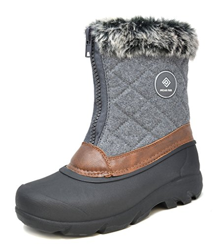 Snow Mid Boots Women's PAIRS Black DREAM Grey Winter North Fur Faux Calf p8awfX