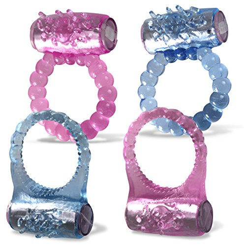 LeLuv Cock Ring Beaded Clitoris Tickler Vibrating Pink Blue 4 Pack